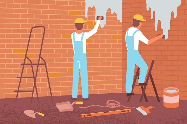 Muuruitlijning vlakke compositie met binnenaanzicht van finishers die bakstenen muur schilderen met verf en instrumenten