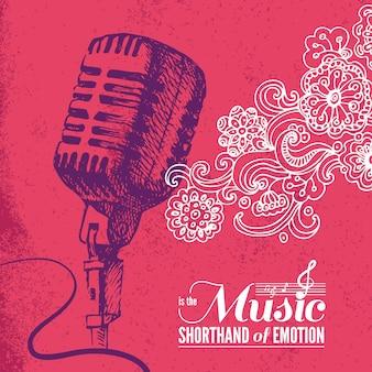 Muziek achtergrond. handgetekende illustratie en typografieontwerp