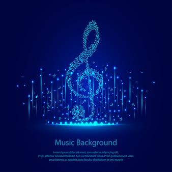 Muziek achtergrond met blauwe sparkles
