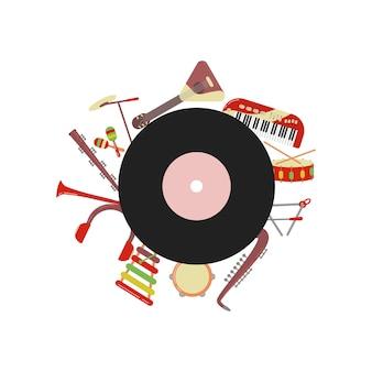Muziek achtergrond muziekinstrumenten banner vectorillustratie