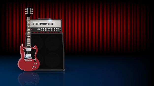 Muziek achtergrondconcept, gitaar en versterker op rood gordijn
