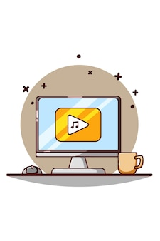 Muziek afspelen in computerweergave pictogram cartoon afbeelding