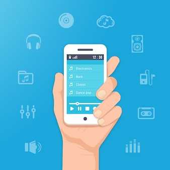 Muziek-app op uw smartphone. speel muziek in de hand illustratie