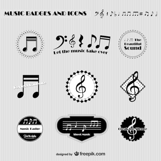 Muziek badges en pictogrammen