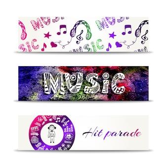 Muziek banners. vectormalplaatje met krabbel het van letters voorzien en muzikale elementen. raak parade concept.