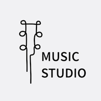 Muziek bedrijfslogo sjabloon, branding ontwerp vector, muziek studio tekst