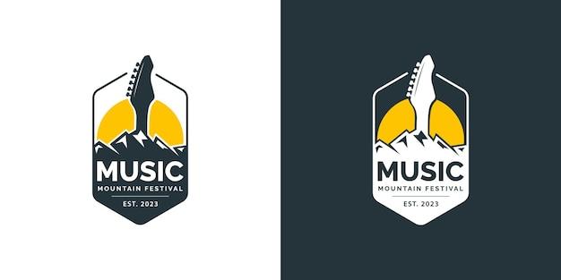 Muziek berg festival logo ontwerpconcept