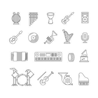 Muziek concertinstrumenten dunne lijn vector iconen