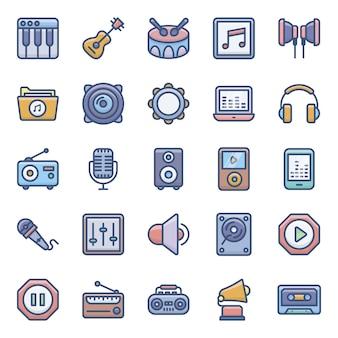Muziek en audio plat pictogrammen pack