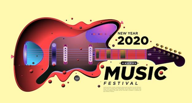 Muziek- en gitaarfestival illustratieontwerp voor 2020 nieuwjaarsfeestevenement.
