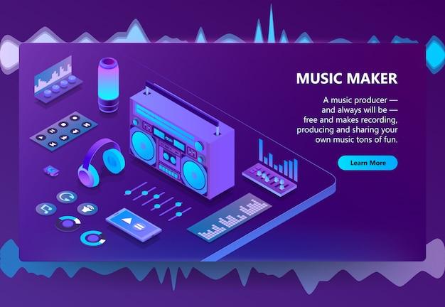 Muziek en opname productie illustratie