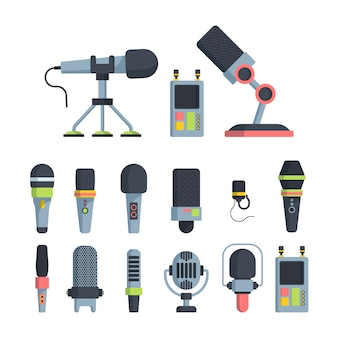 Muziek en televisie microfoons platte vectorillustraties instellen