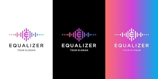 Muziek equalizer met letter e concept logo ontwerp