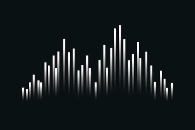 Muziek equalizer technologie zwarte achtergrond met witte digitale geluidsgolf