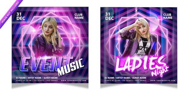 Muziek evenement dames nacht poster sjabloon met kleurrijke bewerkbare teksteffect