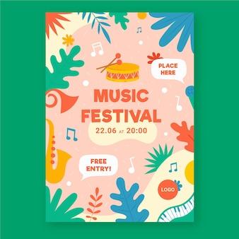 Muziek evenement poster geïllustreerd