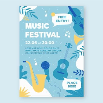 Muziek evenement poster geïllustreerde sjabloon