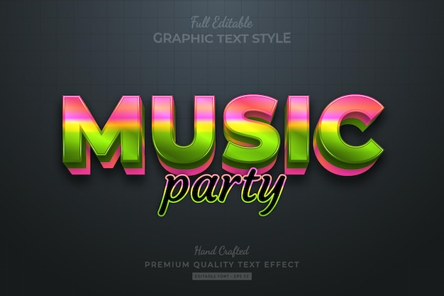 Muziek feestverloop bewerkbaar premium teksteffect lettertypestijl