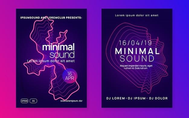 Muziek fest. dynamische vloeiende vorm en lijn. bochtige concert poster set. electro dans. elektronisch trancegeluid. techno dj-feest. club evenement poster.