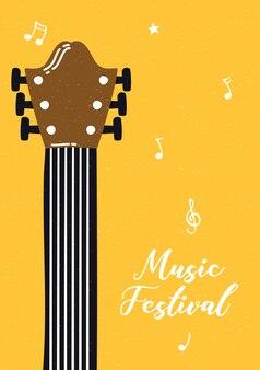 Muziek fest poster met gitaarinstrument