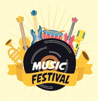 Muziek fest poster met instrumenten