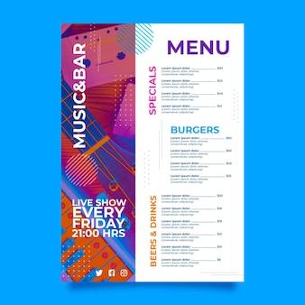 Muziek fest restaurant menu