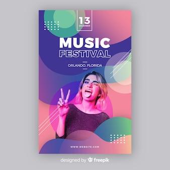 Muziek festival poster sjabloon met foto