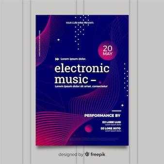 Muziek festival poster sjabloon met golven