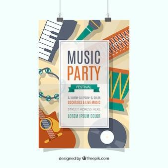 Muziek festival poster sjabloon met muziekinstrumenten