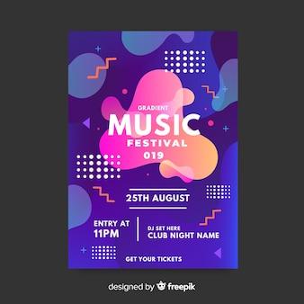 Muziek festival poster sjabloon met vloeibaar effect