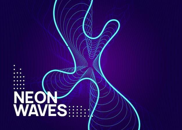 Muziek flyer. energie concert banner concept. dynamische vloeiende vorm en lijn. neon muziek flyer. electro dance dj. elektronisch geluidsfeest. techno trance feest. clubevenement poster.