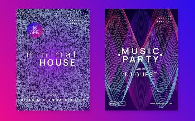 Muziek flyer. minimale discotheekcoverset. dynamische vloeiende vorm en lijn. neon muziek flyer. electro dance dj. elektronisch geluidsfeest. techno trance feest. clubevenement poster.