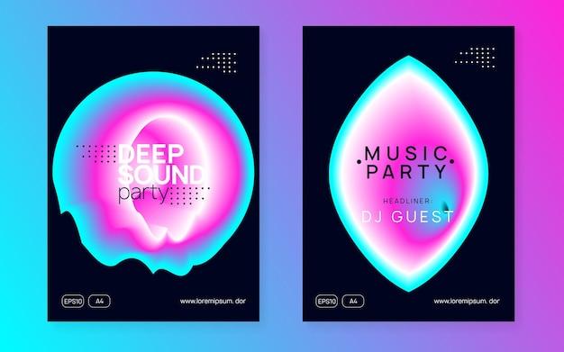 Muziek flyer set. elektronisch geluid. nachtdans levensstijl vakantie. vloeiende holografische gradiëntvorm en lijn. geometrische indie concert brochureontwerp. affiche voor zomerfeest en muziekflyer.