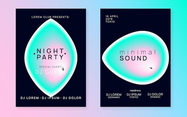 Muziek flyer set. moderne techno club cover lay-out. vloeiende holografische gradiëntvorm en lijn. elektronisch geluid. nachtdans levensstijl vakantie. affiche voor zomerfeest en muziekflyer.