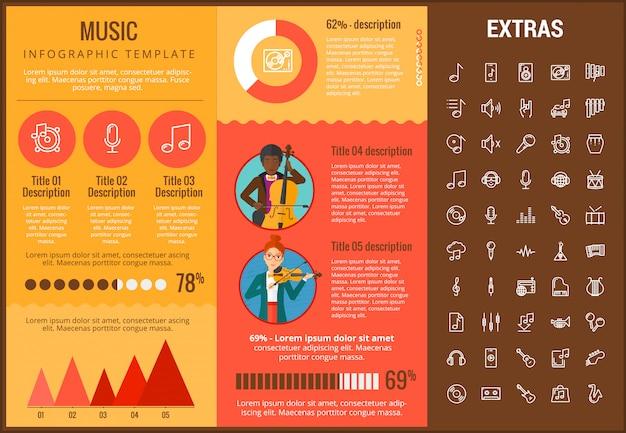 Muziek infographic sjabloon, elementen en pictogrammen