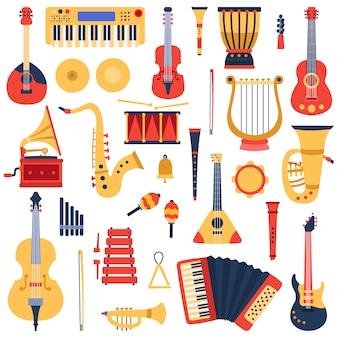 Muziek instrumenten. muzikale klassieke instrumenten, gitaren, saxofoon, drum en viool, jazzband muziekinstrumenten illustratie iconen set. trommel en trompet, tamboerijn en klank klassiek
