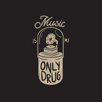 Muziek is my only drug graphic concept