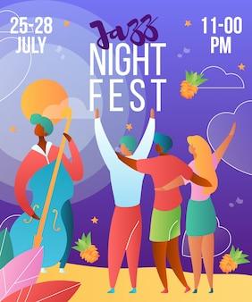 Muziek jazz nacht festival poster sjabloon met stripfiguren