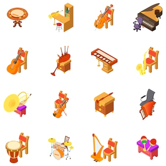 Muziek kamer icon set