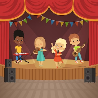 Muziek kinderen band op concert-scène