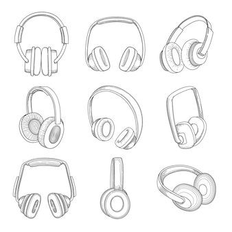 Muziek koptelefoon. elektronische technologie verschillende gadgets schetsen set.
