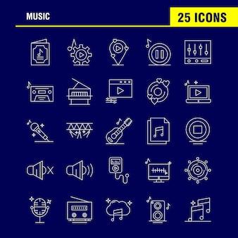 Muziek lijn icons set