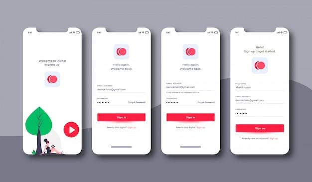 Muziek login interface kit voor mobiel