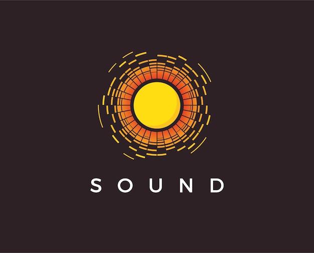 Muziek logo concept geluidsgolf audio technologie abstracte vorm