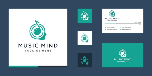 Muziek logo met visitekaartje concept Premium Vector