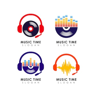 Muziek logo ontwerpsjabloon. muziek pictogram symbool ontwerp