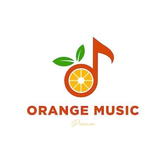 Muziek logo ontwerpsjabloon opmerking muziek met oranje fruit creatieve logo vector