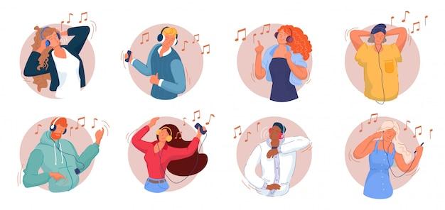 Muziek luisteren. glimlachende mannen en vrouwen die aan muziek op smartphone luisteren, dansen, lied zingen, ontspannen en pret hebben. muziekliefhebbers die een koptelefoon dragen en genieten van een moderne collectie geluidsgeluiden