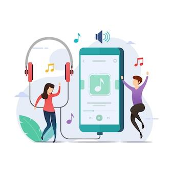 Muziek luisteren met de toepassing van de muziekspeler