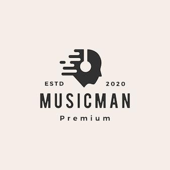 Muziek man hoofdtelefoon hipster vintage logo pictogram illustratie